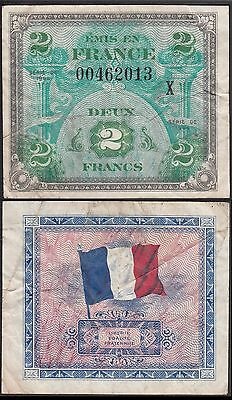 France 2 Francs, 1944, Military note, P-114, Replacement X note