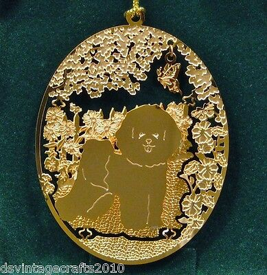 Bichon Frise 24k Gold Plated Ornament New By Kingsheart Forge