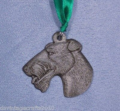Fox Terrier Wire-Haired Vintage Pewter Dog Christmas Ornament 1982