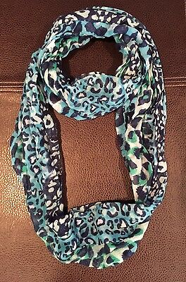 Justice clothing girls scarf wrap animal print blues and greens sparkle