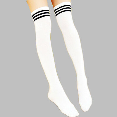 Men Women Sport Athletic Soccer Stripe Over Knee Thigh High Long Socks Stocking