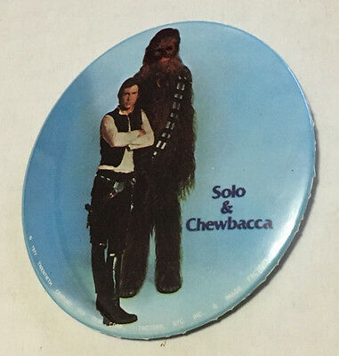 "Vintage Solo & Chewbacca Star Wars Original Movie 3"" Pin Button Image Factory"
