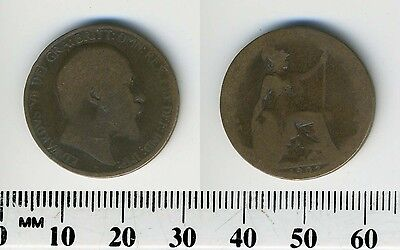 GREAT BRITAIN 1902 - 1/2 Penny Bronze Coin - King Edward VII