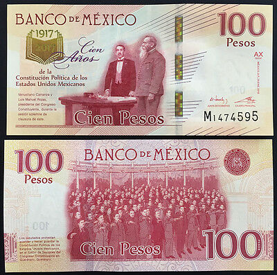 MEXICO NEW 2017 $100 ppr banknote Constitution centenary mint state, very nice