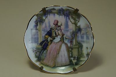 Miniature Limoges plate with old fashioned courting couple