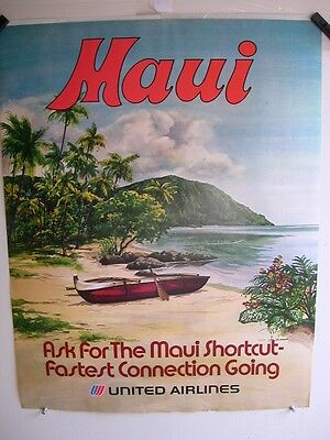 United Airlines Maui  Outrigger  70's Vintage  Poster
