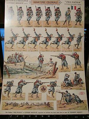 WW1 French Made Paper Soldiers Uncut Sheet Infantry   Old Reprint