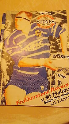 15.1.89 Featherstone Rovers v St Helens programme