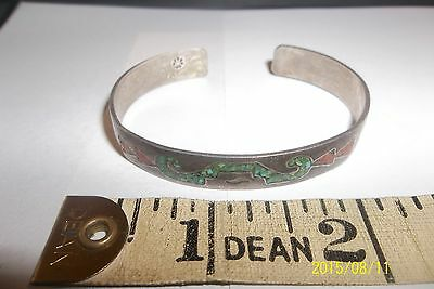 SIGNED Vintage NAVAJO Sterling Silver Turquoise Chip Inlay CUFF BRACELET   .925