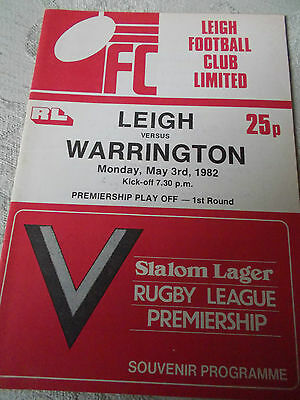 3.5.82 Leigh v Warrington programme Premiership Play off