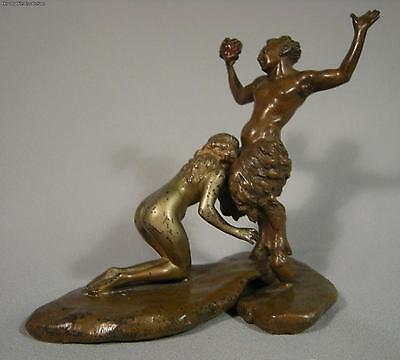 Original Antique Bergman Vienna Bronze Satyr With Grapes And Nymph