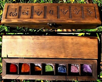 The Chakra Box with Chakra Palm Stones - Pagan Wicca Witchcraft