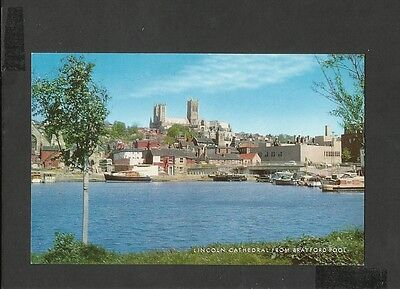 J Salmon  Colour Postcard Lincoln Cathedral From Brayford Pool Lincolnshire