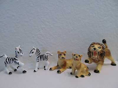Vintage Hand Painted Bone China Circus Lion And Zebra Family Figurines Japan