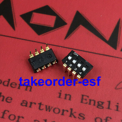 10 Pcs 2.54mm Pitch 4 Position IC Type DIP Switch Black