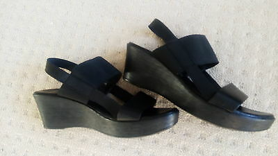 NOVO Women's Black Leather Wedges Sandals Worn Once Size 10 AS NEW