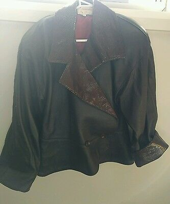 Vintage leather 80s jacket with faux snake skin details