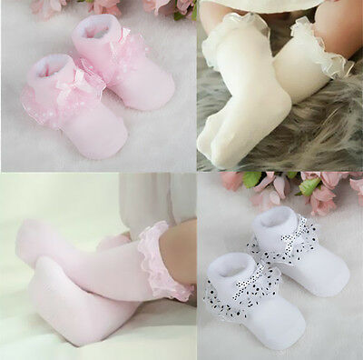New Lace Socks Cotton Hot Baby Girls Bowknot Ankle Socks Princess Toddler Dots