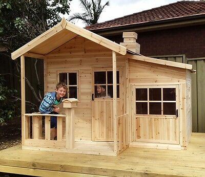 Malibu Solid HARDWOOD Timber Kids Cubby House -Del Available + FREE kitchen set