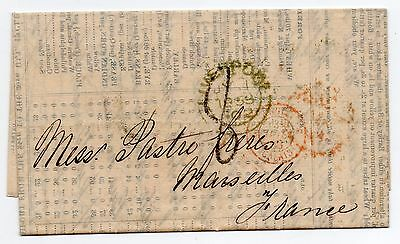 1853 full entire Corn Exchange Liverpool to France NO stamps lots of pmk's