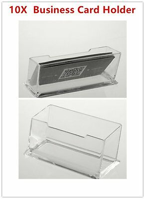10 X Clear Desktop Business Card Holder Display Stand Plastic Desk Shelf  LOT SG