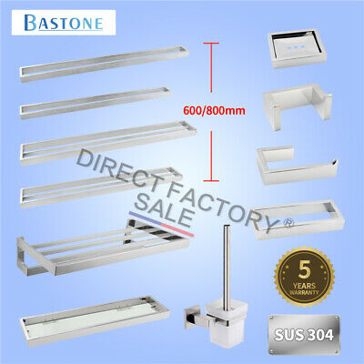 Square Bathroom Accessory SET Chrome Towel Rack Rail Robe Hook Wall Mount SS304
