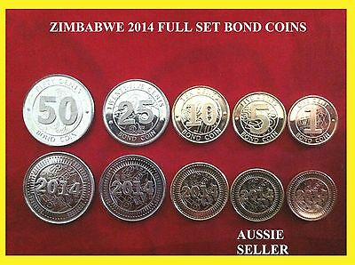 FULL SET ZIMBABWE RARE COIN  5 2014 Bond Coins UNC 1 5 10 25 50 cents  new issue