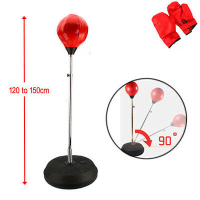 Free Standing Adjustable Adult Punch Bag Ball Set Includes Gloves Boxing 4/5Ft