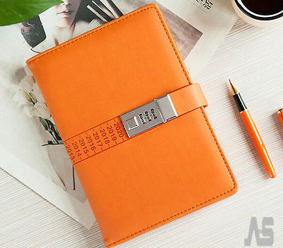 Code Lock Password PU Leather A5 Notebook Secret Diary Lined Travel Journal UK