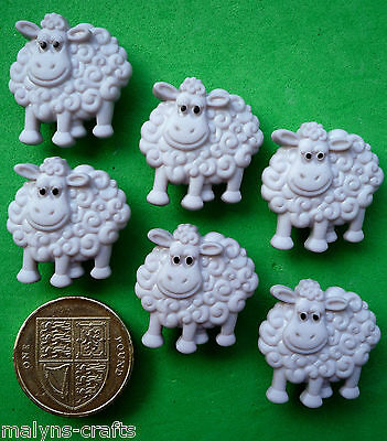 CUTE GREY SHEEP Craft Buttons Novelty Animals Nursery Baby Farm Yard Lambs Wool