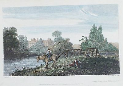 OLD ANTIQUE PRINT TEMPLE HOUSE BUCKINGHAMSHIRE c1810 ENGRAVING by OWEN / COOKE