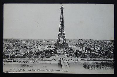 Old post card from Paris with Eiffel Tower from 1919