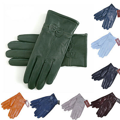 Ladies Womens Genuine Manual Leather Sheepskin Gloves Winter Warm Lined Driving
