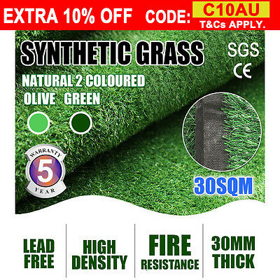 30 SQM Artificial Grass Synthetic Turf Plastic Plant Fake Lawn Flooring 30MM