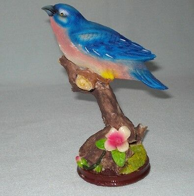 "Pretty Eastern Bluebird - Resin Bird Figurine On A Tree Branch - 6.5"" high"