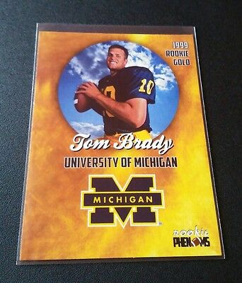 Tom Brady Rookie Gold 1999 Phenoms Card NFL Patriots University Michigan