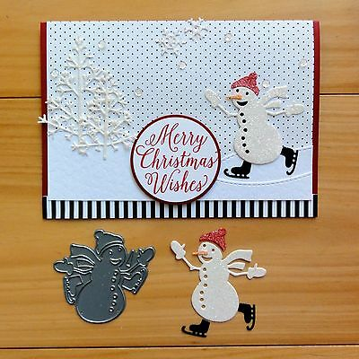 Impression Obsession Christmas Snowman Sledding Cutting Die - Bnip