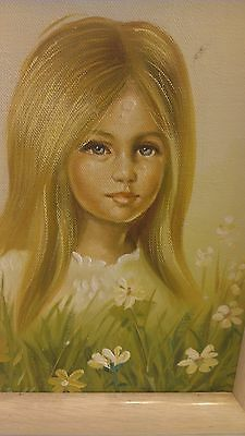 """8"""" x 10"""" ORIGINAL OIL ON CANVAS GIRL WITH DAISIES FRAMED GREAT ART"""