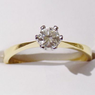 18ct Yellow Gold ~0.25ct Natural Diamond Solitaire Engagement Ring Vintage UK