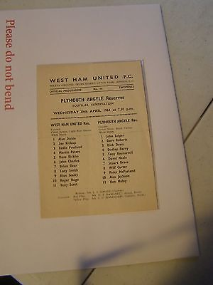 West Ham reserves v Plymouth Argyle res   Combination 63/4 programme