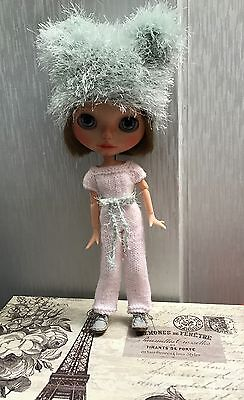 Blythe Doll Outfit - Knitted Handmade All-in-one Trouser Suit, Jacket And Hat