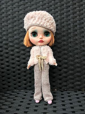 Blythe Doll Outfit - Knitted Handmade All-in-one Trouser Suit, Jacket, Belt& Hat