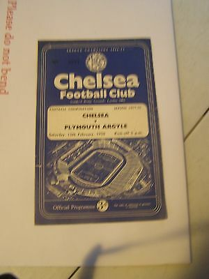 Chelsea Reserves v Plymouth Argyle reserves Combination 57/8 programme