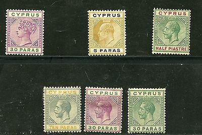 (9808) Stamps Cyprus Six Older Mint