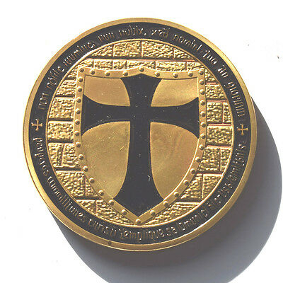 KNIGHTS TEMPLAR FREEMASONRY / MASONIC 14ct GOLD PLATED COIN IN CLEAR COIN CASE