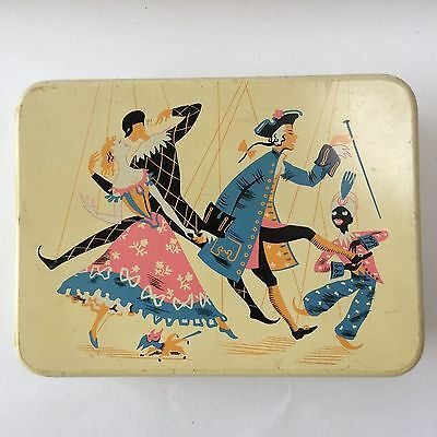 VINTAGE 1950s bisucit tin A. Romary & Co. Harlequins Parting Puppets