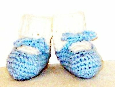 Baby Blue Colored Baby Booties With Attached Socks - Handmade - 0-4 months