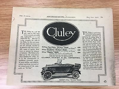 RARE 1922 CLULEY Small B&W Vintage Car Advert (Clarke Cluley & Co, Coventry)