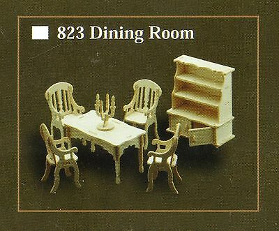 DINING ROOM FURNITURE KIT IN 12th SCALE FOR DOLLS HOUSE, BRAND NEW