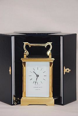 Superb Quality Garrard Solid Brass 8 Day Carriage Mantle Clock + Display Case